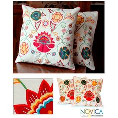 Cotton 'Eternal Spring' Cushion Covers (Set of 2) (India)   Overstock.com