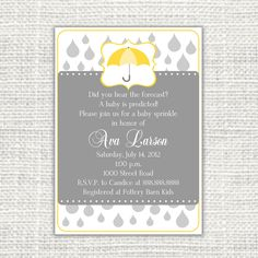 love a grey & yellow color theme! Baby Sprinkle invitation
