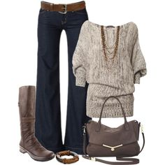 Wide Leg Jeans and Knee Boots