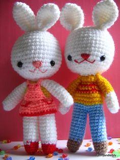 pdf charlie and angel bunny amigurumi crochet pattern-luulla