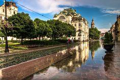 High street in Košice, Slovakia Heart Of Europe, World View, Eastern Europe, Czech Republic, Beautiful World, Wanderlust, Mansions, Street, House Styles