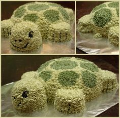 "Turtle cake - made for libby's 12th birthday. used cupcakes for head and limbs. body was a 9"" round with a smaller round atop and shaved down. make a double batch of ATK Fam frosting next time and make light green frosting lighter"