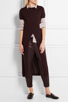 Burgundy cashmere and silk-blend Slips on 70% cashmere, 30% silk Dry clean Made in Italy