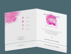 Met deze frisse en trendy kleuren nodig je dierbaren uit voor de bruiloft. Een stijlvolle en kleurrijke trouwkaart met mooie typografie. Kies voor oud-hollands papier en combineer bijvoorbeeld met een roze of paarse envelop.