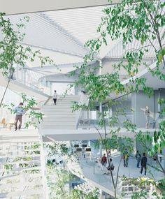 Vista del interior del proyecto. Nuevo Centro de Aprendizaje de la Ecole Polytechnique por Sou Fujimoto Arquitectos, Manal Rachdi Oxo architects y Nicolas Laisné. Imagen de la visualización © RSI-STUDIO.