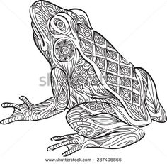Zentangle Animals Stock Photos, Images, & Pictures   Shutterstock Frog Coloring Pages, Mandala Coloring Pages, Animal Coloring Pages, Adult Coloring, Coloring Books, Zentangle, Spanish Colors, Frog And Toad, Color Shapes