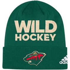 Rep your favorite NHL team and keep warm with this Minnesota Wild Locker  Room Cuffed Knit Hat from adidas. It features authentic Minnesota Wild  colors and ... f61a8795f