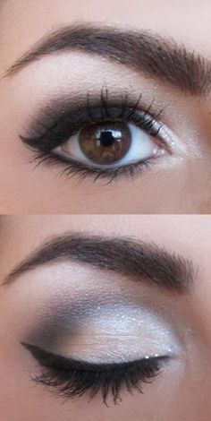 Try this with taupe, some paler shade (maybe a pinkish tone), white inner corner, and brown eyeliner (like Chocolate).