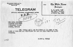 The royal baby of 1948 —  On November 14, 1948, President and Mrs. Truman sent this telegram to Princess Elizabeth and Prince Philip upon the birth of their son, Prince Charles.