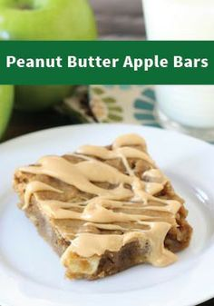 Peanut Butter Apple Bars – If you love apples dipped in peanut butter, you are going to love this recipe!