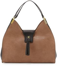 Neiman Marcus Tassel Tab Faux-Leather Hobo Bag b09d947bc5e96