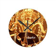 Bling Me Baby!   Round Wall Clocks #zazzle #bling #clock #walldecor #chandelier www.zazzle.com/serenitygardens