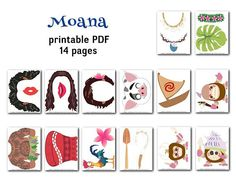 *** Digital Product *** --- Personal Use Only --- Liven up your party pictures with these fun photo booth props! Moana Party, Moana Birthday Party, Photobooth Props Printable, Party Pictures, Party Props, Photo Booth Props, Paper Straws, Princess Moana, Cartoon Art