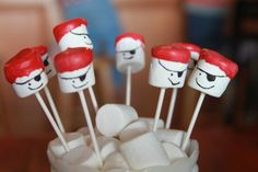 Pirate marshmallow pops (Kcommunicated.com): Super cute for a pirate party and could be adapted for many other themes