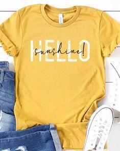 Cute Shirt Designs, Vinyl Shirts, Custom Tee Shirts, Cute Shirts, Cute Summer Shirts, Funny Shirts, Hello Sunshine, Cricut Creations, Diy Shirt