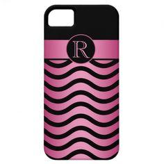 iPhone5 Black Pink Wavy Stripes Monogram iPhone 5 Cases