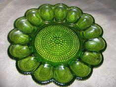 green depression glass deviled egg plate