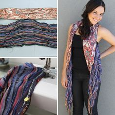 Combine two scarves to create a totally unique vest!