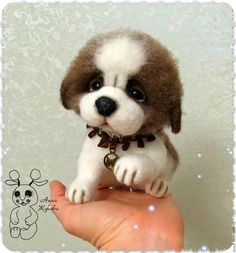 """Купить Щеночек московской сторожевой """"Давай поиграем?"""" - коричневый, белый, собака, пес, щенок, щеночек"""