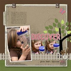 scrapbook layout - 1 large, 2 small photos (tree, picket fence)