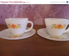 Summer SALE Mid Century Fire King, Coffee Cups and Saucers, Premiums, Cosmos, Summer Cosmos, Set of 2, 4 pieces