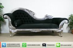 Beautiful Silver Wedding Sofa Lounge Elhuda   This kind of silver wedding sofa lounge is another variant of Elhuda series. It brings you the collaboration of a good quality wood beautiful silver finish and lovely black velvet fabric. Custom color combination is also available to suit your home's theme. The design of this wedding sofa lounge adopts Louis XV style that showed by its carving motif and curvy body. Elhuda has sturdy construction to ensure the lifetime of this pieces. In the…