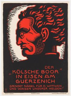 """Poster: - [sic] The """"Cologne Boor"""" in iron at the Gürzenich Donates nails for the widows and orphans of our heroes!"""