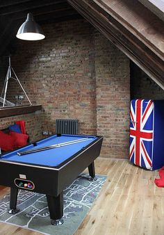 Attic game room on pinterest attic man cave attic media for Small pool table room ideas