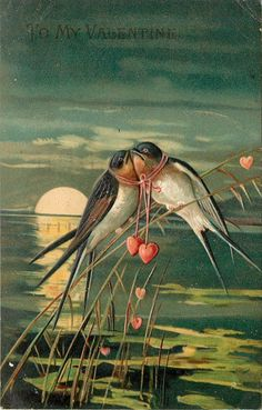 Valentines Day~Swallows Spooning On Reeds~Red Hearts Unite~Full Moon Sinking~Emb | eBay