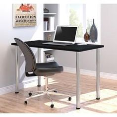 "Bestar 24"" x 48"" Table with round metal legs in Black 65852-18"