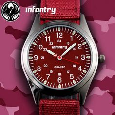 Stunning Red ladies Infantry Watch - Buy direct from the Supplier, 18 EUROS (*FREE  SHIPPING)  #WatchesDirectEU #watches #luxurywatches #infantry #shoppingdeals #ladiesfashion #buydirect