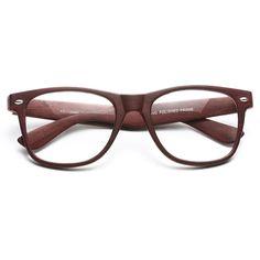 'Jude' Large Wood Grain Clear Wayfarer Glasses - Brown - 5562-1
