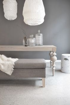 Grey & white combo - would look great with med-dark stained wood furniture and accents.