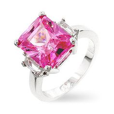 Kate Bissett Silvertone  Emerald-cut Cubic Zirconia Ring ($23) ❤ liked on Polyvore featuring jewelry, rings, zirconia jewelry, silver tone jewelry, cz band ring, emerald cut ring and cubic zirconia band rings
