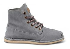 Grey Suede Women's Tomboy Boots side TOMS BOOTS! - womens steel toe shoes, womens boots shoes, fashion womens shoes