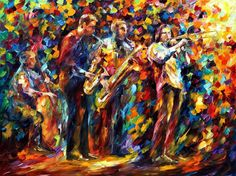 Dreams Of Jazz PALETTE KNIFE Figures Oil by AfremovArtStudio