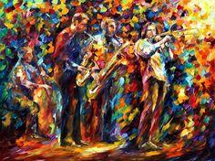 Dreams Of Jazz  PALETTE KNIFE Figures Oil by AfremovArtStudio