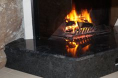 Emprador Black Marble fire place Fireplace Hearth, Bbq Area, Black Marble, Granite, Bench, Stone, Places, Home Decor, Rock