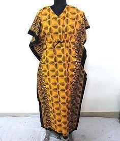 Cotton Regular Size Maxi Hand Block Printed Nightwear Women Wear Kaftan