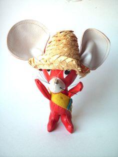Vintage Vinyl Stuffed Mouse in a Sombrero by PoorLittleRobin, $8.00