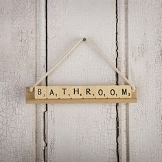 diy // sign for bathroom using scrabble tiles and board // housewarming gift idea