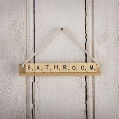 diy // sign for bathroom using scrabble tiles and board // housewarming gift idea