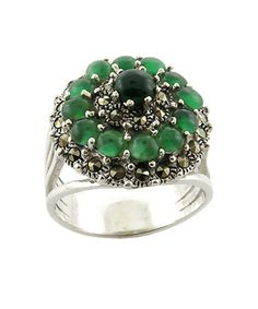 Flower Green Aventurine With Marcasite 925 Sterling Silver Ring