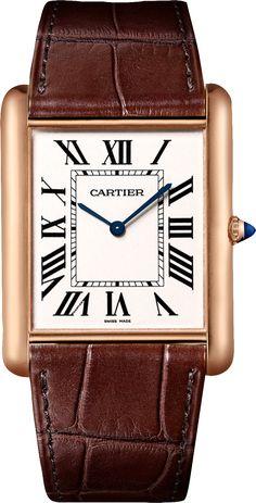 Tank Louis Cartier watch XL, 18K pink gold, leather
