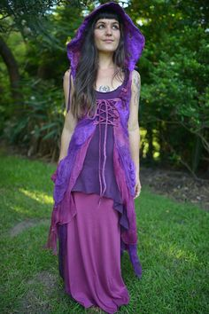 Nuno Felted Fairy Bow And Silk Chiffon Layered Corset Closure Pixie Hooded Vest Gown OOAK