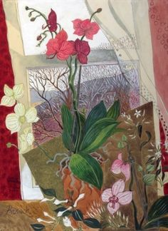ORCHIDS AT CHRISTMAS.  ARTIST: PAULINE BEWICK Irish Art, Contemporary Paintings, Moroccan, Orchids, Ireland, Sculptures, Artsy, Collage, Homes
