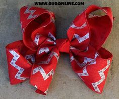 Red and Silver Glitter Chevron Hairbow www.gugonline.com $12.95