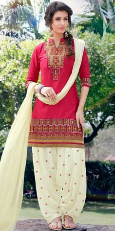 Nice Red And Off-White Cotton Patiala Suit.