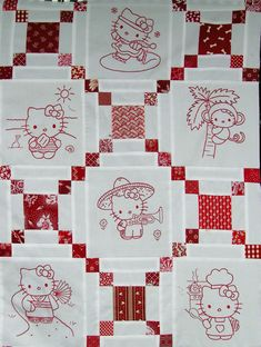 Hello Kitty Redwork Quilt.. Really Cute!!!