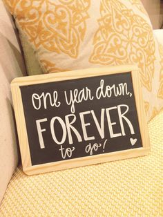 I need this for our 1 year anniversary photos! Anniversary Chalkboard, Anniversary Pictures, Marriage Anniversary, Anniversary Gifts For Husband, Wedding Anniversary Gifts, Anniversary Parties, 1st Anniversary Quotes, Cute Anniversary Ideas, 1 Year Anniversary Boyfriend